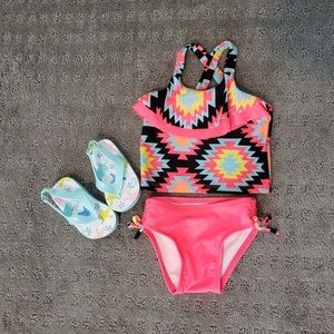 Toddler swimsuit and flip flops